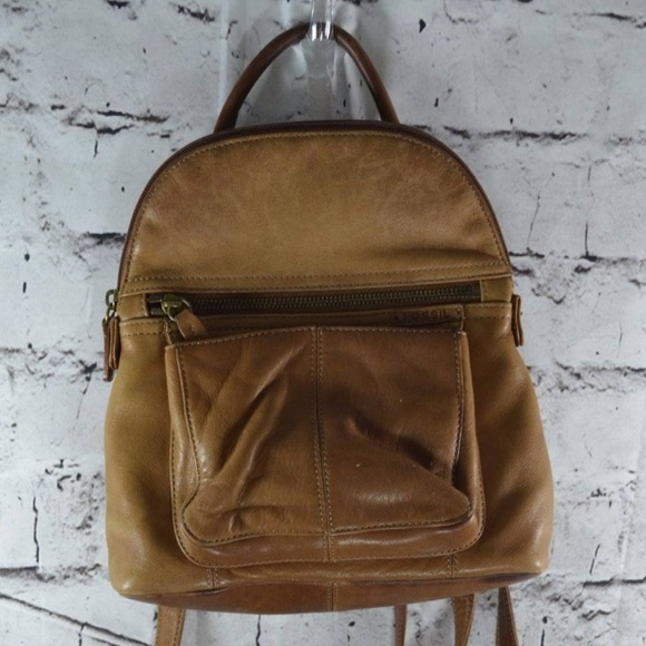 Fossil Bags   Camel Brown Leather Backpack Purse   Poshmark 7c48e47474